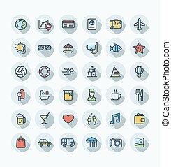 ベクトル, 平ら, セット, 手荷物, アウトライン, pictogram, 色, 休暇, アイコン, サービス, ホテル, symbols., 夏, 薄くなりなさい, 部屋, サングラス, 線, 旅行, 観光事業, 線である
