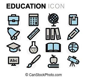 ベクトル, 平ら, セット, 教育, アイコン