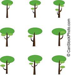 ベクトル, 平ら, セット, 木, 緑