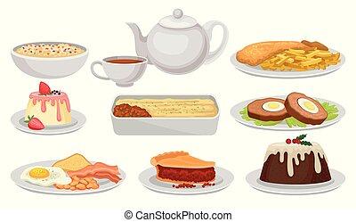 ベクトル, 平ら, セット, 本, 伝統的である, レストランメニュー, 皿, レシピ, イギリス, 食品。, cuisine., デザート, 要素, 味が良い, 英語, tea., カフェ, ∥あるいは∥