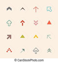 ベクトル, 平ら, セット, 矢, イラスト, リサイクルされる, ペーパー, デザイン, 背景