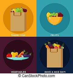 ベクトル, 平ら, セット, 買い物, vegetables., elements., アイコン, 食物, イラスト, infographic, ペーパー, 概念, デザイン, 成果, 食品。, bag.