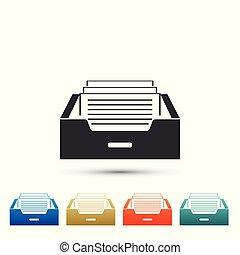ベクトル, 平ら, セット, furniture., オフィス, バックグラウンド。, drawer., 隔離された, icons., キャビネット, 引き出し, 文書, イラスト, ファイル, ペーパー, 白, アイコン, 有色人種, アーカイブ, 要素, design.