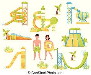 ベクトル, 平ら, セット, suits., 人々, スライド, 公園, 波, 水, サーフィン, アクア色, equipment., 魅力, プール, 極点