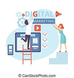 ベクトル, 平ら, チームワーク, 管理, 作戦, デジタル, 分析, マーケティング, イラスト, 仕事, ビジネス, 内容, 人々