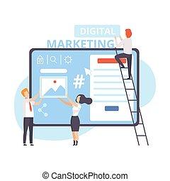 ベクトル, 平ら, チームワーク, 管理, 作戦, デジタル, 分析, マーケティング, businesspeople, 仕事, イラストビジネス, 内容