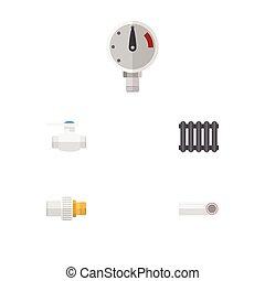 ベクトル, 平ら, パイプライン, セット, elements., フランジ, 圧力, 含む, また, 他, objects., プラスチック, 産業, ヒーター, アイコン