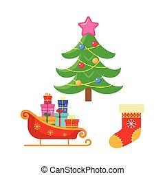 ベクトル, 平ら, 冬 休日, クリスマス, シンボル, セット