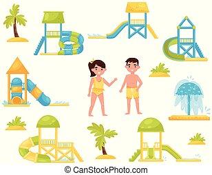 ベクトル, 平ら, 別, セット, アクア色, slides., 公園, スーツ, 水, s, 子供, equipment., 子供, 水泳