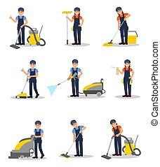 ベクトル, 平ら, 別, 会社, サービス, 仕事, 洗剤, 男性, equipment., 若い, セット, 清掃, 専門家, uniform., 女性