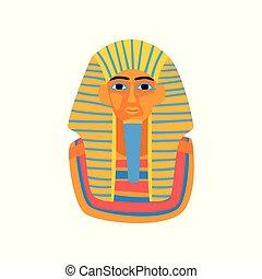 ベクトル, 平ら, 古代, tutankhamun., カラフルである, エジプト人, promo, ポスター, 旅行, pharaoh., イラスト, egypt., グラフィック, agency., 像, 王, 要素, 漫画, アイコン