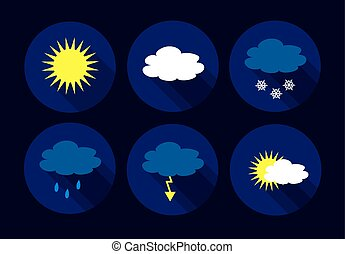 ベクトル, 平ら, 天候, アイコン