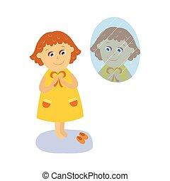 ベクトル, 平ら, 女の子, ドレッシング, の前, ∥, 鏡