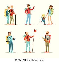 ベクトル, 平ら, 女性s, ハイキング, 人々, 男性, カップル。, 年配, 息子, 主題, セット, 移住, ...