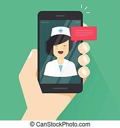 ベクトル, 平ら, 女, を経て, リモート, 医者, モビール, smartphone, 医療のイラスト, telemedicine, 答え, 漫画, 電話協議, ビデオ, オンラインで, 技術, 技術, オンラインで, 携帯電話