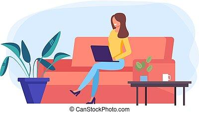 ベクトル, 平ら, 女, オフィス, 仕事, 労働者, フリー, 仕事, 特徴, イラスト, freelancer, 写実的な 設計, concept., home., 漫画