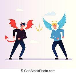 ベクトル, 平ら, 悪魔, 天使, 神, concept., 特徴, 隔離された, 悪, 口論, 宗教, 写実的な 設計, イラスト, 反対, debate., 漫画, 対立