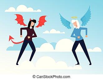 ベクトル, 平ら, 悪魔, 特徴, 天使, concept., 悪, よい, 写実的な 設計, イラスト, 反対, 漫画, 女性