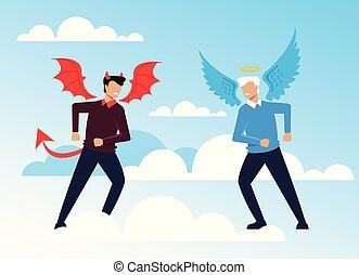 ベクトル, 平ら, 悪魔, 特徴, 天使, concept., 悪, よい, 写実的な 設計, イラスト, 反対, 漫画