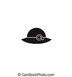 ベクトル, 平ら, 概念, イラスト, 印, 女, 黒, icon., 帽子