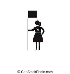 ベクトル, 平ら, 概念, イラスト, 権利, 印, 女, 黒, icon.