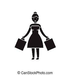 ベクトル, 平ら, 概念, 買い物, イラスト, 印, 女, 黒, icon.