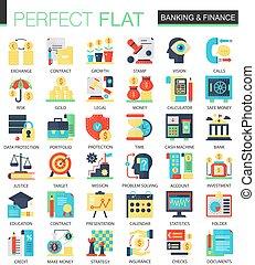 ベクトル, 平ら, 概念, 金融, 網, 複合センター, シンボル, 銀行業, infographic, アイコン, design.
