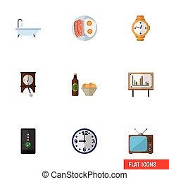 ベクトル, 平ら, 生活, セット, whiteboard, elements., 浴室, タイマー, 含む, また, チャート, 他, objects., プレゼンテーション, 携帯電話, アイコン