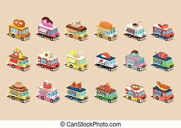 ベクトル, 平ら, 等大, セット, ピザ, カラフルである, 食物, trucks., フライド・ポテト, バン, バーガー, 屋根, 暑い, ドーナツ, フランス語, アイスクリーム, ソーダ, プレッツェル, 犬