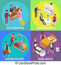 ベクトル, 平ら, 等大, 概念, ポスター, サービス, ホテル, セット, 旗