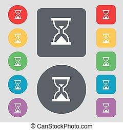ベクトル, 平ら, buttons., 砂時計, 有色人種, アイコン, 印。, タイマー, 砂, セット, 12, design.