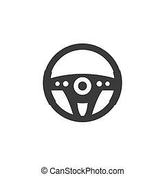 ベクトル, 平ら, icon., 車 車輪, イラスト, design., ステアリング