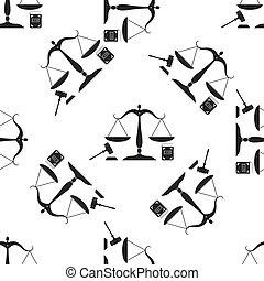 ベクトル, 平ら, law., 概念, アイコン, スケール, オークション, パターン, シンボル, justice., seamless, 法的, シンボル。, バックグラウンド。, 本, イラスト, 正義, 小槌, 白, 法律, design.