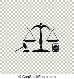 ベクトル, 平ら, law., 概念, アイコン, スケール, オークション, 正義, シンボル, justice., 隔離された, 法的, シンボル。, バックグラウンド。, 本, イラスト, 小槌, 法律, 透明, design.