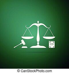 ベクトル, 平ら, law., 概念, アイコン, スケール, オークション, 正義, シンボル, justice., 隔離された, 法的, シンボル。, バックグラウンド。, 本, 緑, イラスト, 小槌, 法律, design.