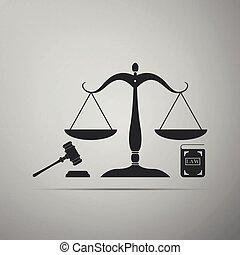 ベクトル, 平ら, law., 概念, アイコン, スケール, オークション, 正義, シンボル, justice., 隔離された, 法的, シンボル。, 灰色, バックグラウンド。, 本, イラスト, 小槌, 法律, design.