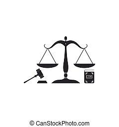 ベクトル, 平ら, law., 概念, アイコン, スケール, isolated., 正義, シンボル, justice., シンボル。, 法的, オークション, 本, イラスト, 小槌, 法律, design.