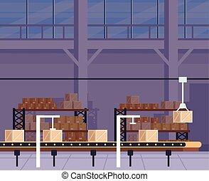 ベクトル, 平ら, machine., 部屋, ロジスティックである, 大きい, concept., たくさん, ロボット, イラスト, 出産, 箱, 写実的な 設計, 出荷, 倉庫, 漫画, 株