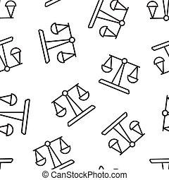 ベクトル, 平ら, style., バランス, パターン, イラスト, 白, 判断, 正義, 隔離された, アイコン, スケール, seamless, concept., バックグラウンド。, ビジネス