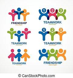 ベクトル, 幾何学的, チームワーク, 協力, crews., 統一, ビジネスマン, 概念, designs., ...