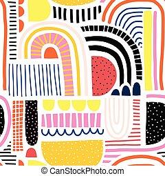 ベクトル, 幾何学的, 赤い黒字, かわいい, 装飾, コラージュ, 現代, オレンジ, いたずら書き, 背景, 家, pink., 青, 形, 白, 生地, 子供, 子供, doodles, 黄色, 背景, 抽象的, seamless, pattern.