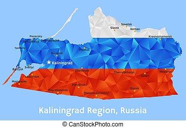 ベクトル, 幾何学的, polygonal, 地図, の, kaliningrad, 地域, ロシア