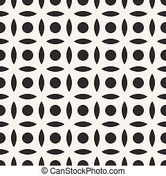 ベクトル, 広場, 単純である, パターン, seamless, 弧, 黒, 白い円