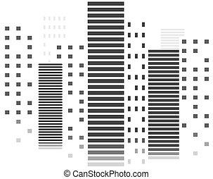 ベクトル, 建物。, 超高層ビル, 中に, city., 夜, cityscape., モノクローム, design.