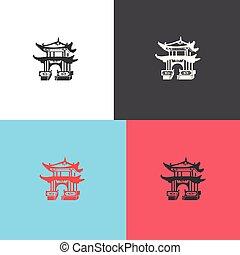 ベクトル, 建築, アイコン, 日本語