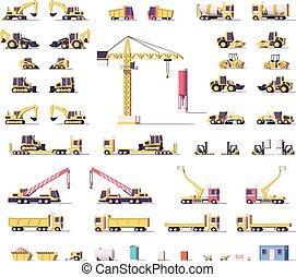 ベクトル, 建設, 低い, poly, 機械類