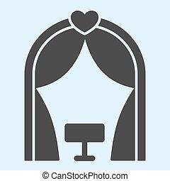 ベクトル, 式, 避難所, glyph, 網, eps, 白, 祭壇, スタイル, 10., デザイン, 結婚式, ロマンチック, 固体, 概念, app., 背景, 使用, place., pictogram, 資産, icon.