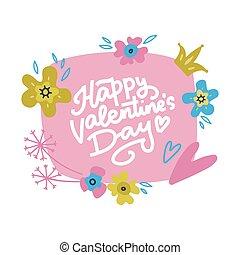 ベクトル, 引かれる, レタリング, 花, design., カード, 花の印刷, 手, -happy, day., s, バレンタイン