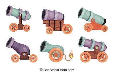 ベクトル, 引っ張って行かれた, 乗り物, 大砲, 銃, 木製である, セット