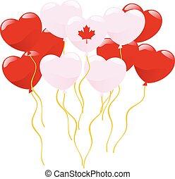 ベクトル, 形づくられた心, 風船, カナダ, 白, まねをする, fla, 赤